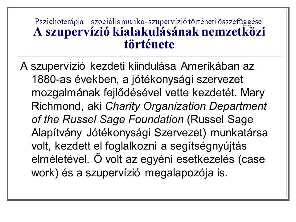 """Pszichoterápia – szociális munka- szupervízió történeti összefüggései Magyar Szupervizorok Társasága honlapján a következő állítás szerepel a szupervízió történetét leíró részben: """"1945-ig csak Amerikában létezett szupervízió, majd az 50-es években hozták be Nyugat-Európába (elsőként Hollandiába), mint a Marshall-terv oktatási programjának egy komponensét."""