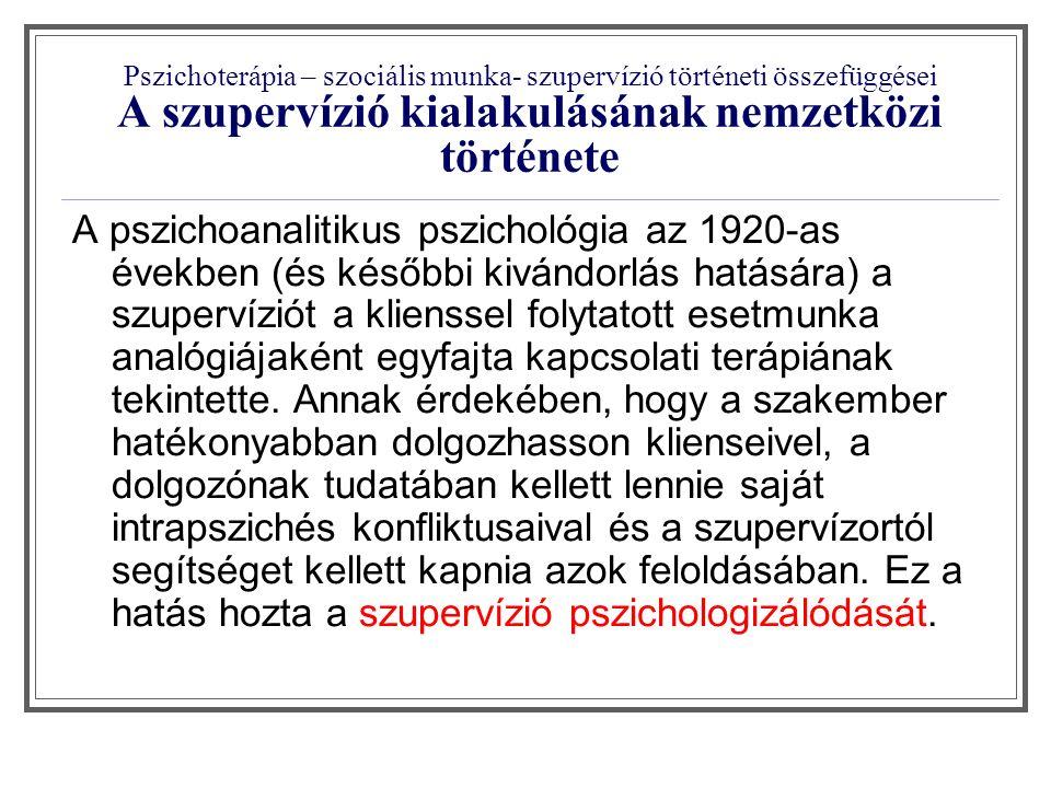 """Pszichoterápia – szociális munka- szupervízió történeti összefüggései A szupervízió kialakulásának nemzetközi története """"európai modell """" angolszász modell """" budapesti iskola Szupervizorrá válás kritériuma Alapdiploma + szupervizor diploma Szupervizió mellett végzett munka, Szupervízió elméleti ismeretek, tanszupervízió Területnek megfelelő végzettség, elismert szakmai tapasztalat."""