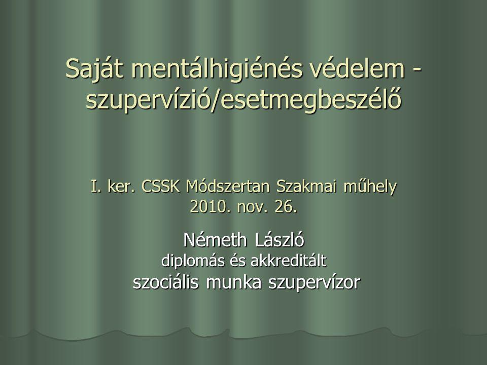Saját mentálhigiénés védelem - szupervízió/esetmegbeszélő I.