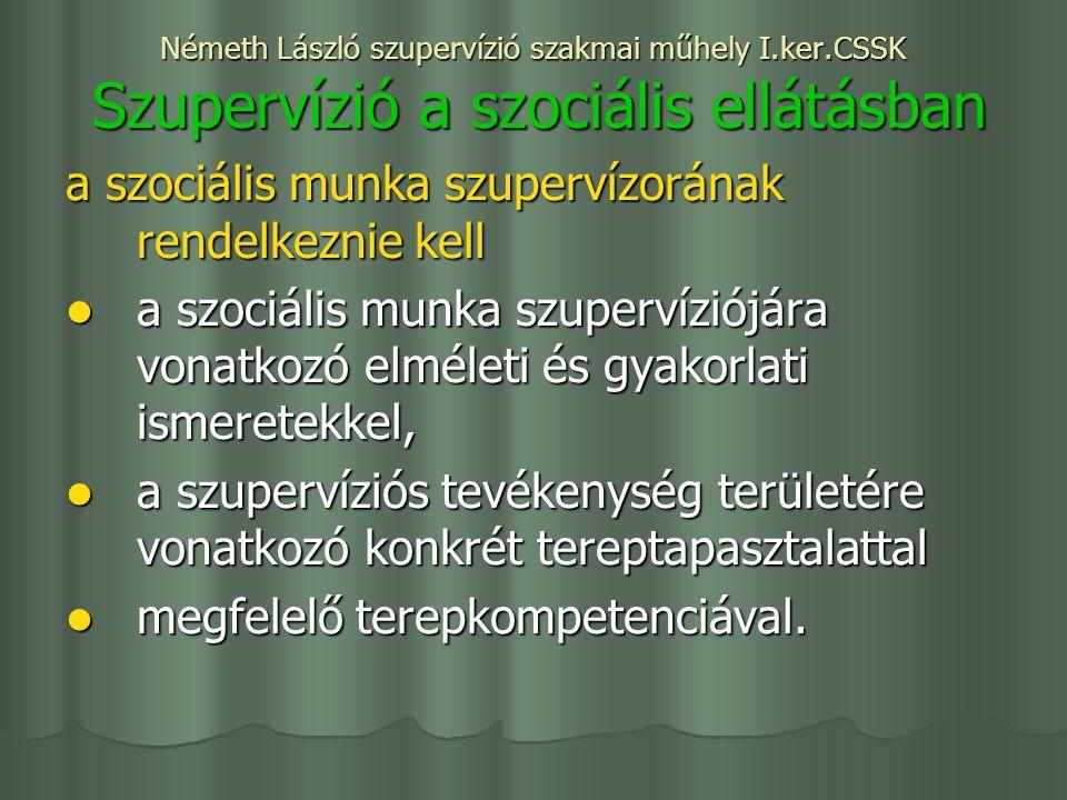Németh László szupervízió szakmai műhely I.ker.CSSK Szupervízió a szociális ellátásban a szociális munka szupervízorának rendelkeznie kell a szociális munka szupervíziójára vonatkozó elméleti és gyakorlati ismeretekkel, a szociális munka szupervíziójára vonatkozó elméleti és gyakorlati ismeretekkel, a szupervíziós tevékenység területére vonatkozó konkrét tereptapasztalattal a szupervíziós tevékenység területére vonatkozó konkrét tereptapasztalattal megfelelő terepkompetenciával.