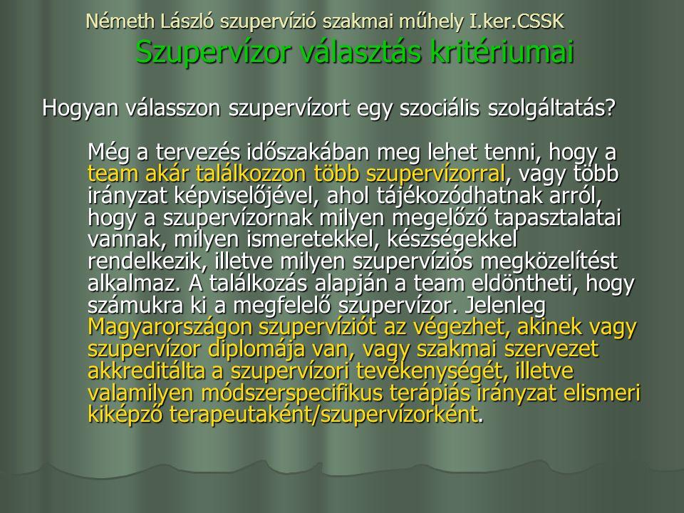 Németh László szupervízió szakmai műhely I.ker.CSSK Szupervízor választás kritériumai Hogyan válasszon szupervízort egy szociális szolgáltatás.