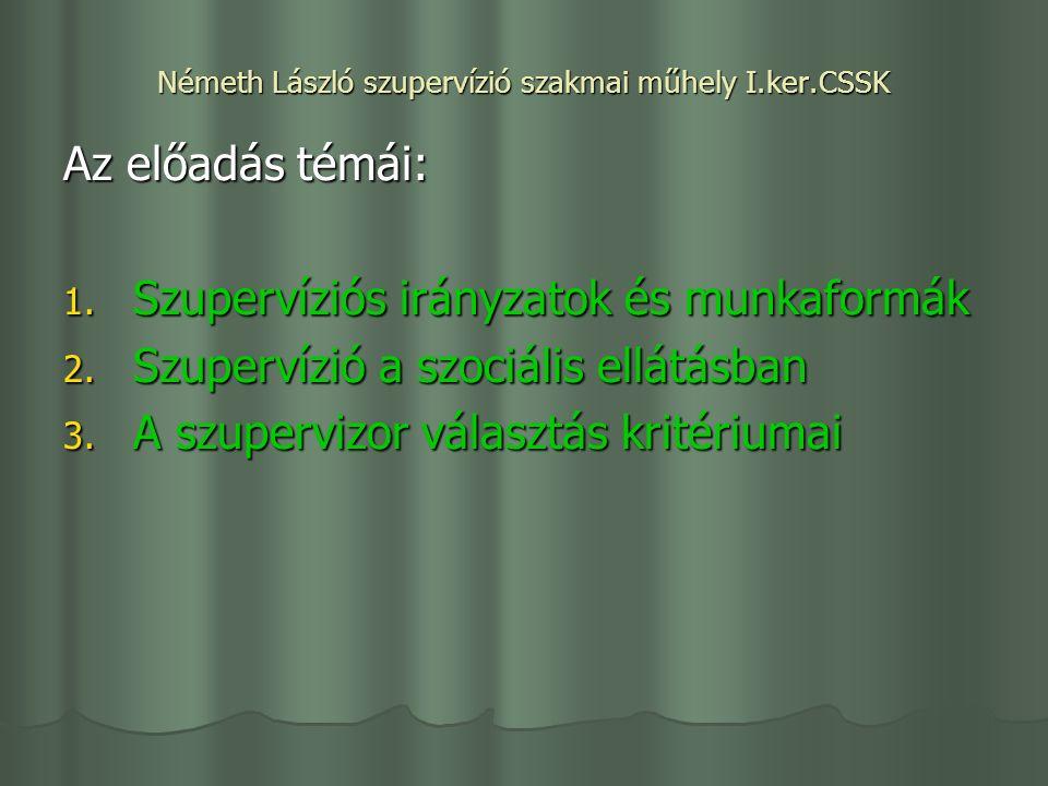 Németh László szupervízió szakmai műhely I.ker.CSSK Az előadás témái: 1.
