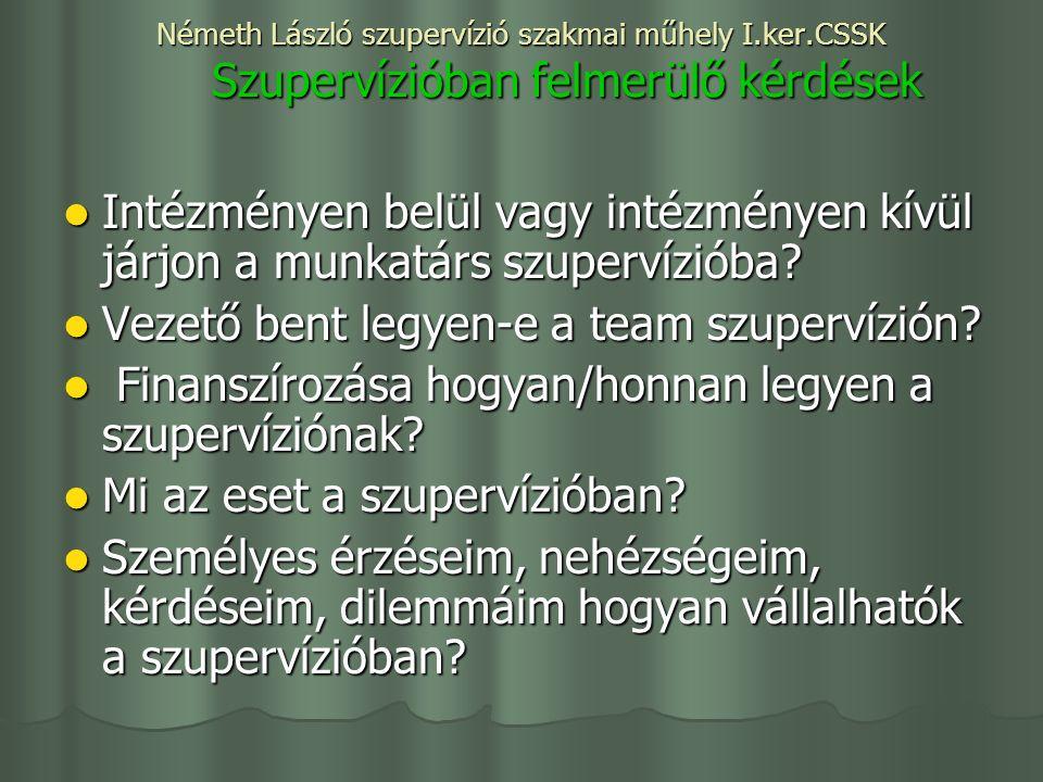 Németh László szupervízió szakmai műhely I.ker.CSSK Szupervízióban felmerülő kérdések Intézményen belül vagy intézményen kívül járjon a munkatárs szupervízióba.