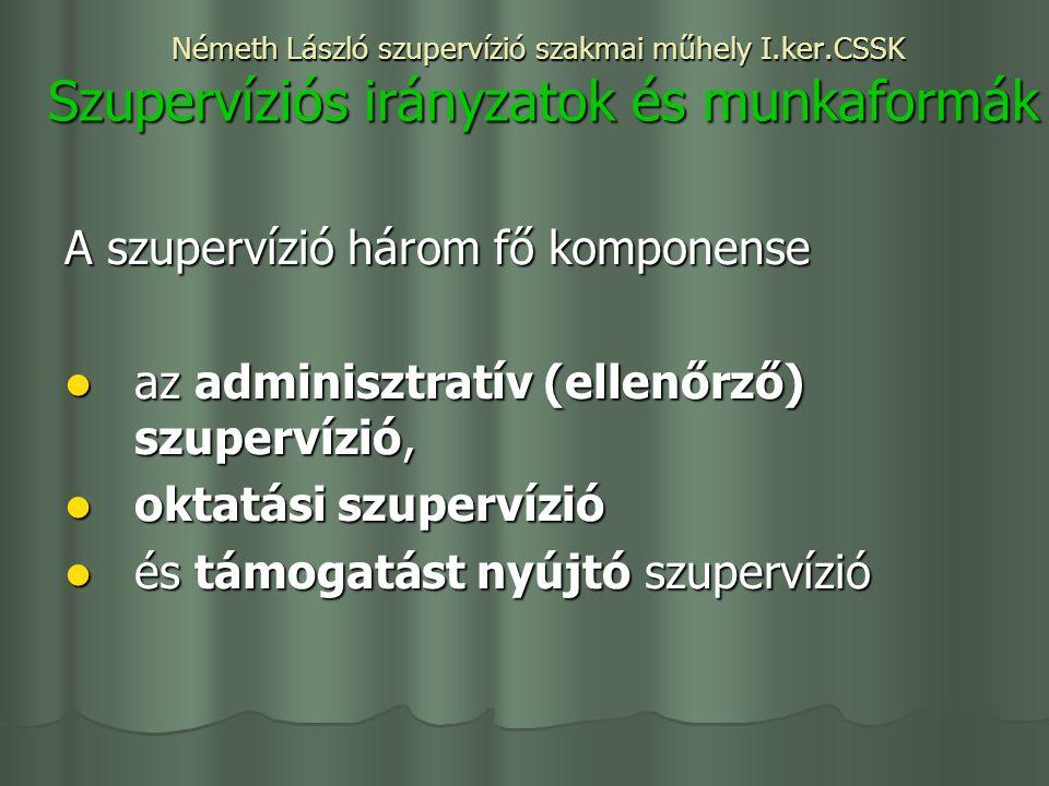 Németh László szupervízió szakmai műhely I.ker.CSSK Szupervíziós irányzatok és munkaformák A szupervízió három fő komponense az adminisztratív (ellenőrző) szupervízió, az adminisztratív (ellenőrző) szupervízió, oktatási szupervízió oktatási szupervízió és támogatást nyújtó szupervízió és támogatást nyújtó szupervízió
