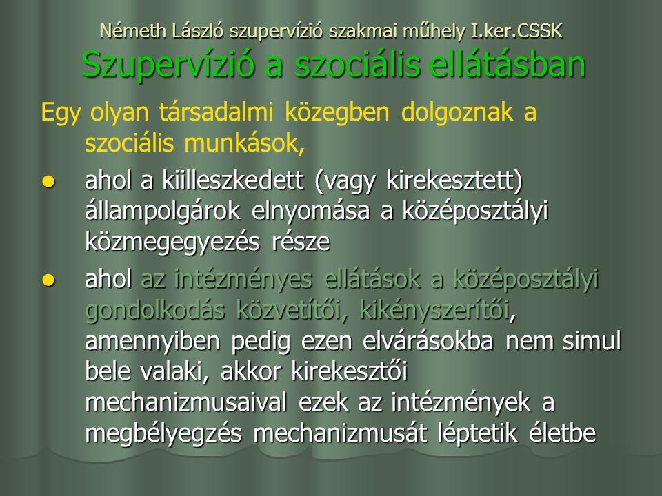 Németh László szupervízió szakmai műhely I.ker.CSSK Szupervízió a szociális ellátásban Egy olyan társadalmi közegben dolgoznak a szociális munkások, ahol a kiilleszkedett (vagy kirekesztett) állampolgárok elnyomása a középosztályi közmegegyezés része ahol a kiilleszkedett (vagy kirekesztett) állampolgárok elnyomása a középosztályi közmegegyezés része ahol az intézményes ellátások a középosztályi gondolkodás közvetítői, kikényszerítői, amennyiben pedig ezen elvárásokba nem simul bele valaki, akkor kirekesztői mechanizmusaival ezek az intézmények a megbélyegzés mechanizmusát léptetik életbe ahol az intézményes ellátások a középosztályi gondolkodás közvetítői, kikényszerítői, amennyiben pedig ezen elvárásokba nem simul bele valaki, akkor kirekesztői mechanizmusaival ezek az intézmények a megbélyegzés mechanizmusát léptetik életbe