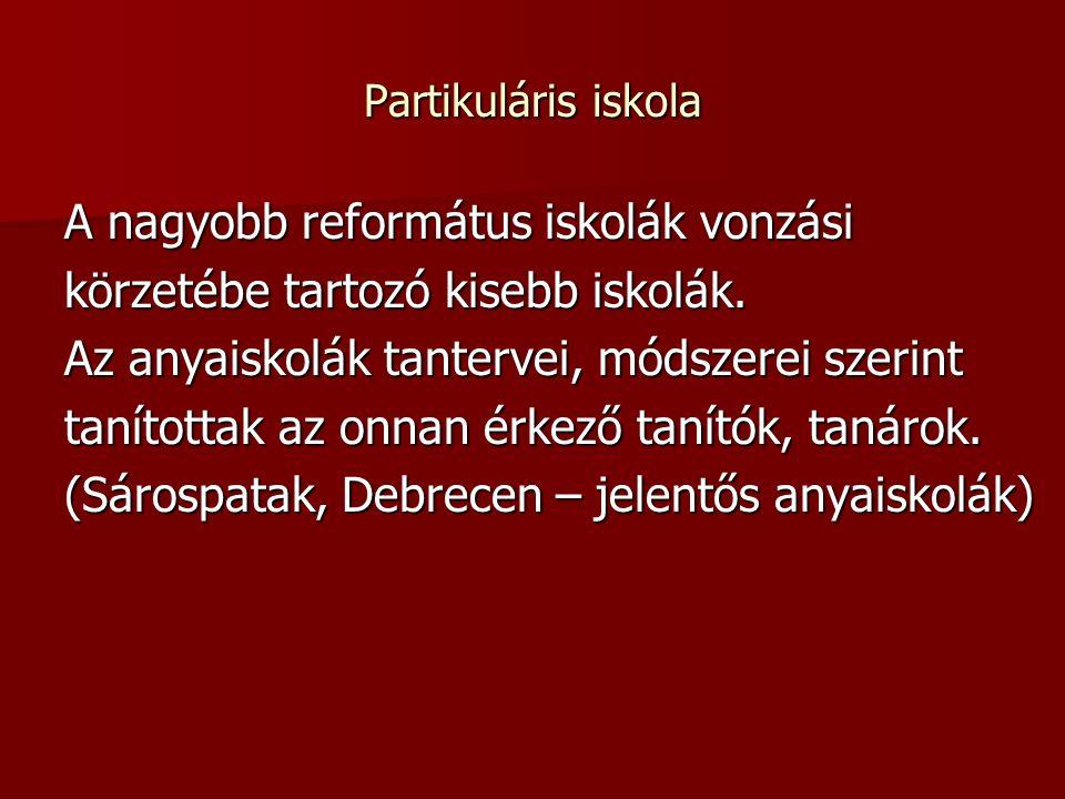 Partikuláris iskola A nagyobb református iskolák vonzási körzetébe tartozó kisebb iskolák.