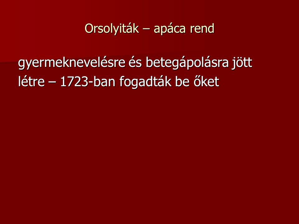 Orsolyiták – apáca rend gyermeknevelésre és betegápolásra jött létre – 1723-ban fogadták be őket