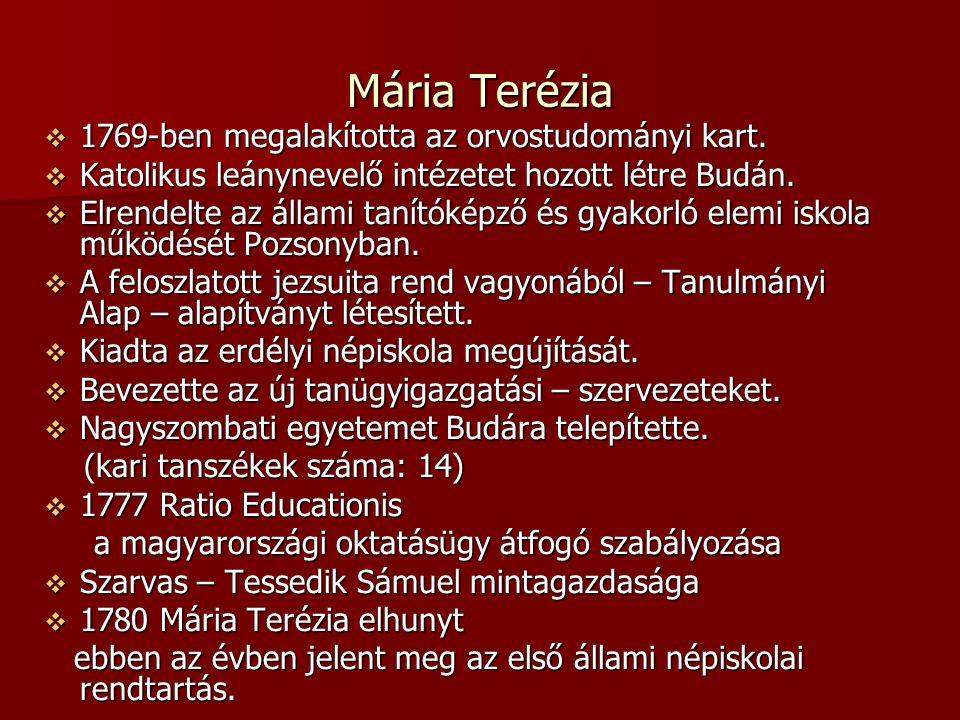 Mária Terézia  1769-ben megalakította az orvostudományi kart.