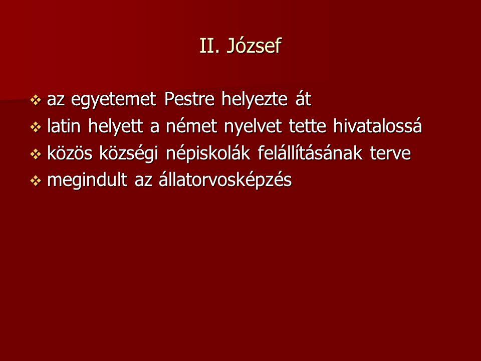 II. József  az egyetemet Pestre helyezte át  latin helyett a német nyelvet tette hivatalossá  közös községi népiskolák felállításának terve  megin