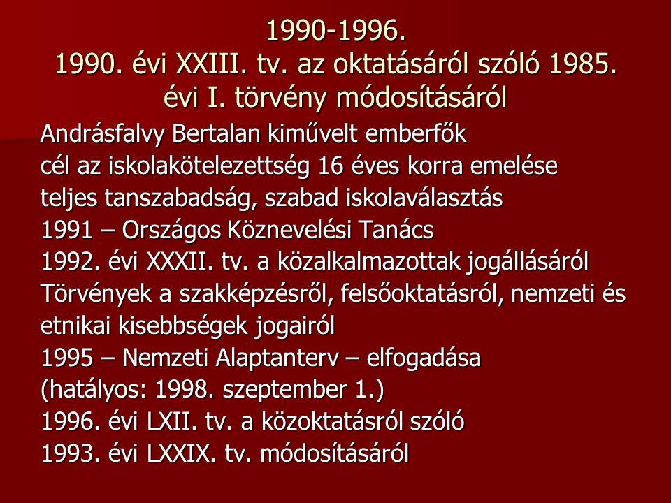 1990-1996. 1990. évi XXIII. tv. az oktatásáról szóló 1985.