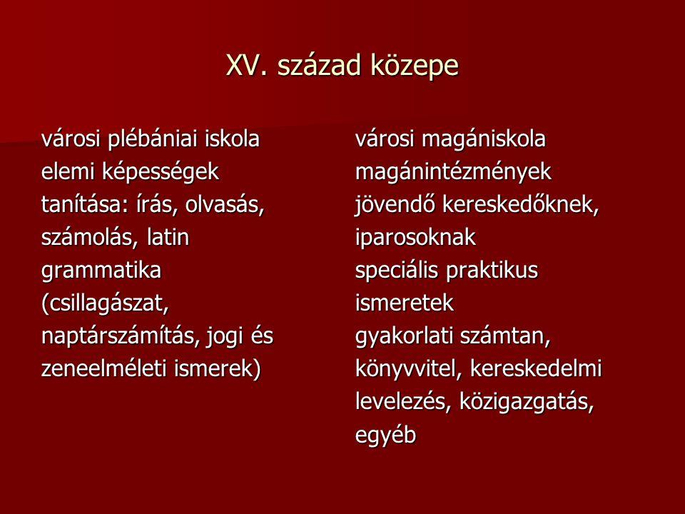 Mária Terézia  Alapítványt létesített 10 magyar ifjú taníttatására  Nagyszombati egyetem  Elrendelte a filozófia és teológiai kar reformját.
