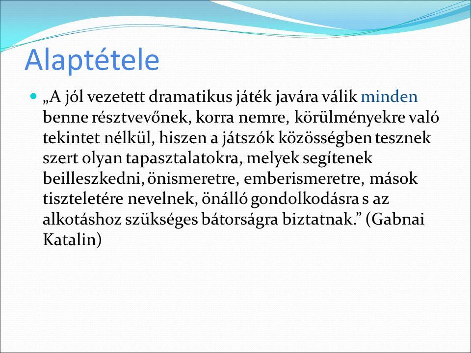 Szakirodalom Gabnai Katalin: Drámajáték gyermekeknek, fiataloknak, felnőtteknek (Színházi Füzetek III.) Debreczeni Tibor: Szín-kör-játék & NPI Bp.