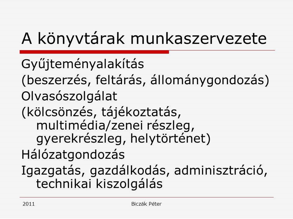2011Biczák Péter A könyvtárak munkaszervezete Gyűjteményalakítás (beszerzés, feltárás, állománygondozás) Olvasószolgálat (kölcsönzés, tájékoztatás, multimédia/zenei részleg, gyerekrészleg, helytörténet) Hálózatgondozás Igazgatás, gazdálkodás, adminisztráció, technikai kiszolgálás