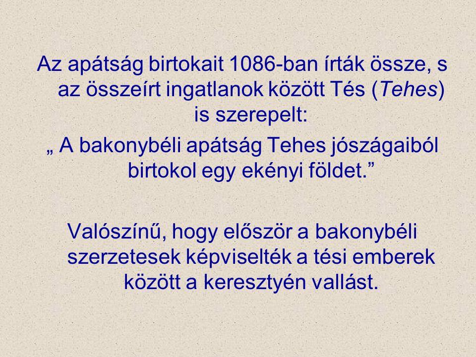 """Az apátság birtokait 1086-ban írták össze, s az összeírt ingatlanok között Tés (Tehes) is szerepelt: """" A bakonybéli apátság Tehes jószágaiból birtokol"""