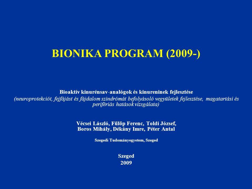 BIONIKA PROGRAM (2009-) Bioaktív kinurénsav-analógok és kinureninek fejlesztése (neuroprotekciót, fejfájást és fájdalom szindrómát befolyásoló vegyüle