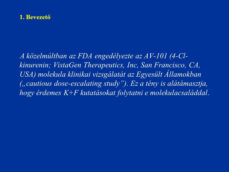 1. Bevezető A közelmúltban az FDA engedélyezte az AV-101 (4-Cl- kinurenin; VistaGen Therapeutics, Inc, San Francisco, CA, USA) molekula klinikai vizsg