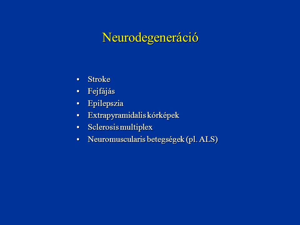 Neurodegeneráció StrokeStroke FejfájásFejfájás EpilepsziaEpilepszia Extrapyramidalis kórképekExtrapyramidalis kórképek Sclerosis multiplexSclerosis mu