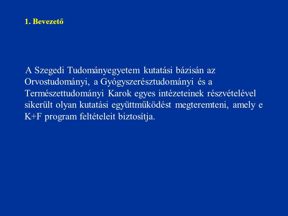 1. Bevezető A Szegedi Tudományegyetem kutatási bázisán az Orvostudományi, a Gyógyszerésztudományi és a Természettudományi Karok egyes intézeteinek rés