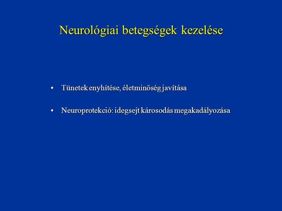 Tünetek enyhítése, életminőség javításaTünetek enyhítése, életminőség javítása Neuroprotekció: idegsejt károsodás megakadályozásaNeuroprotekció: idegs
