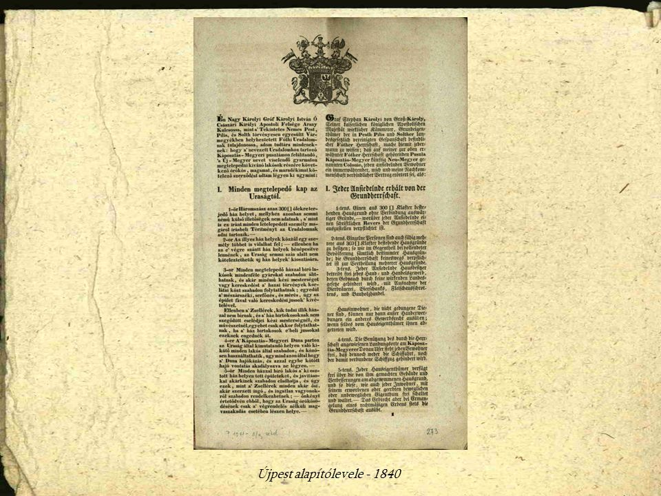 Újpest alapítólevele - 1840