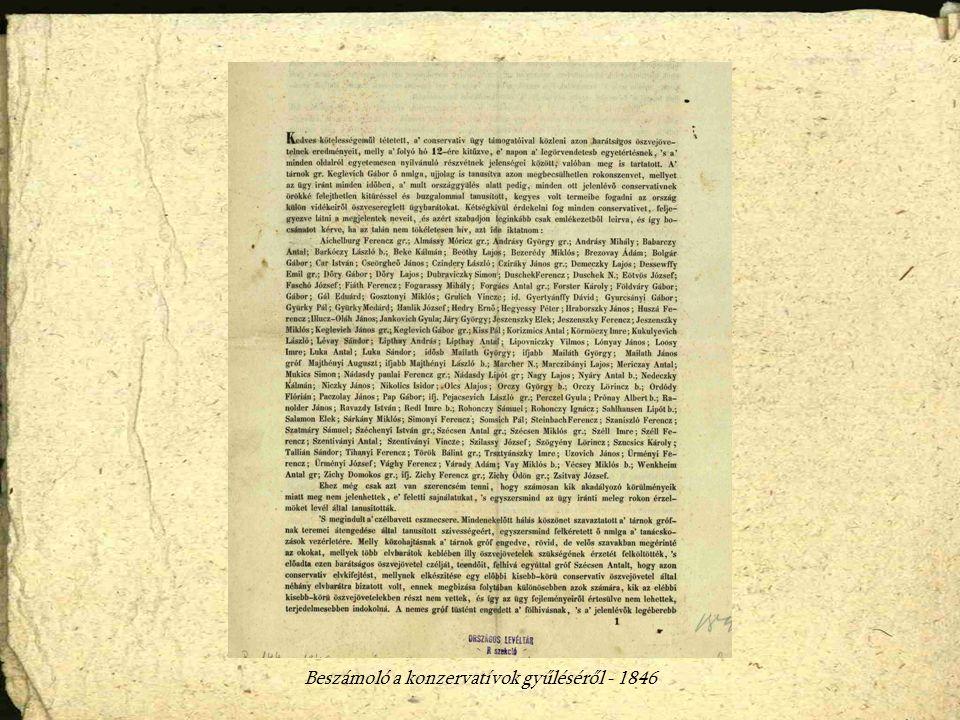 Beszámoló a konzervatívok gyűléséről - 1846