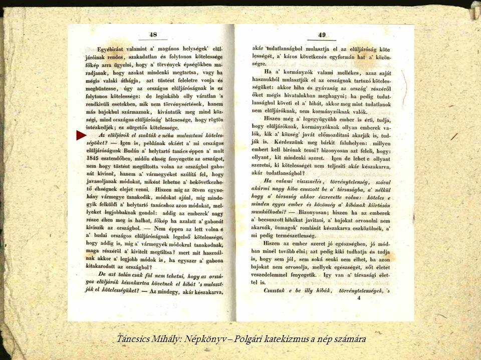 Táncsics Mihály: Népkönyv – Polgári katekizmus a nép számára