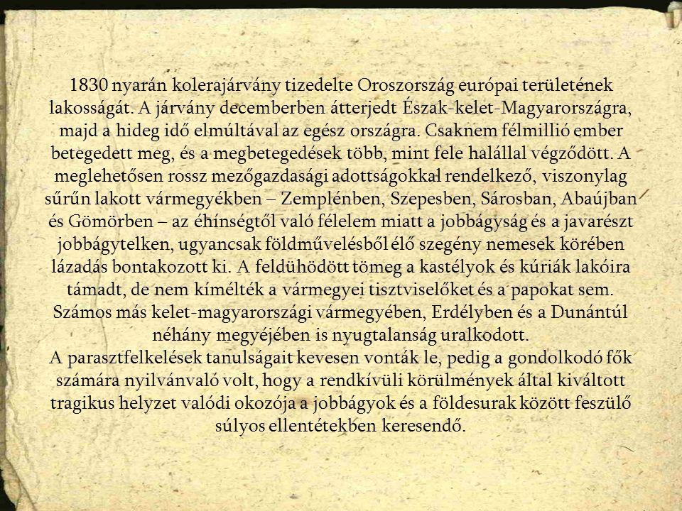 1830 nyarán kolerajárvány tizedelte Oroszország európai területének lakosságát. A járvány decemberben átterjedt Észak-kelet-Magyarországra, majd a hid