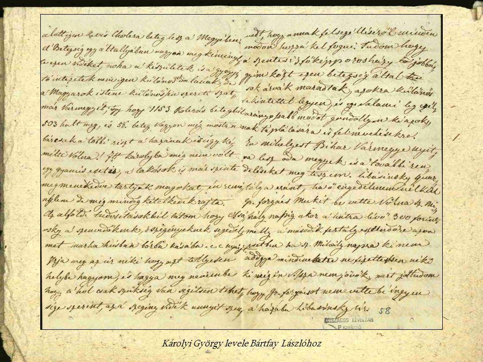 Károlyi György levele Bártfay Lászlóhoz