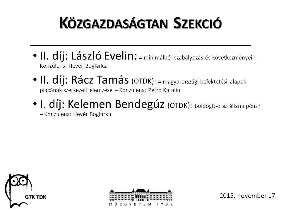 K ÖZGAZDASÁGTAN S ZEKCIÓ II.