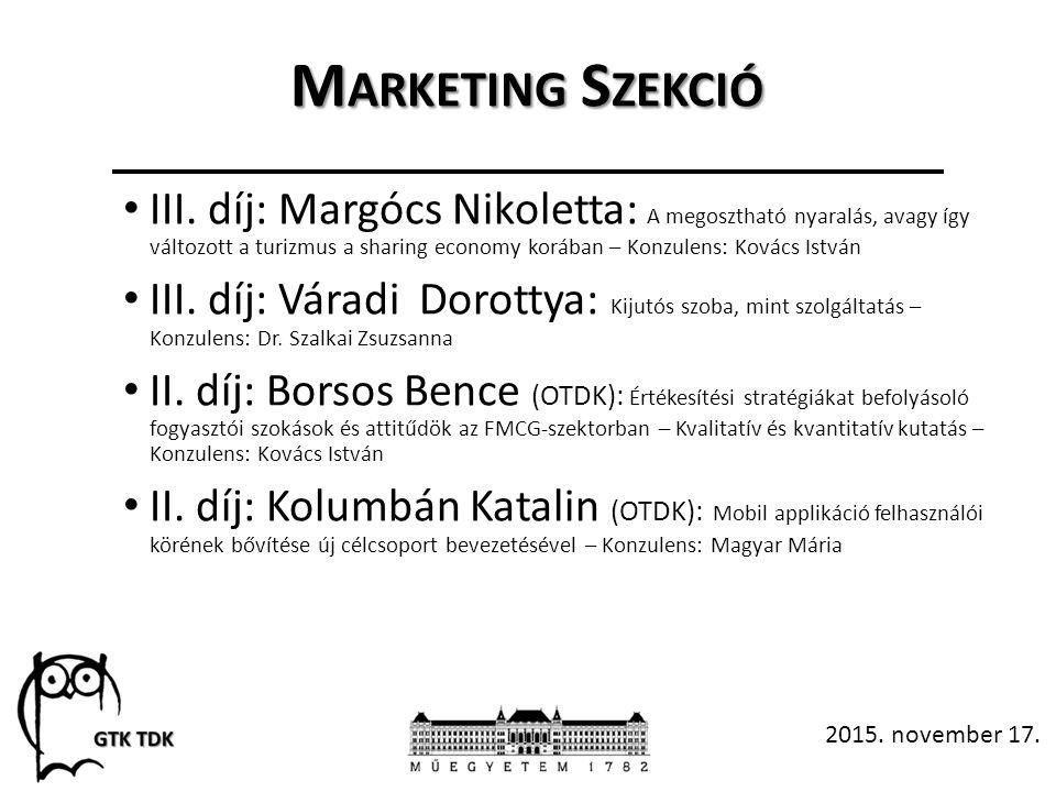 M ARKETING S ZEKCIÓ III.