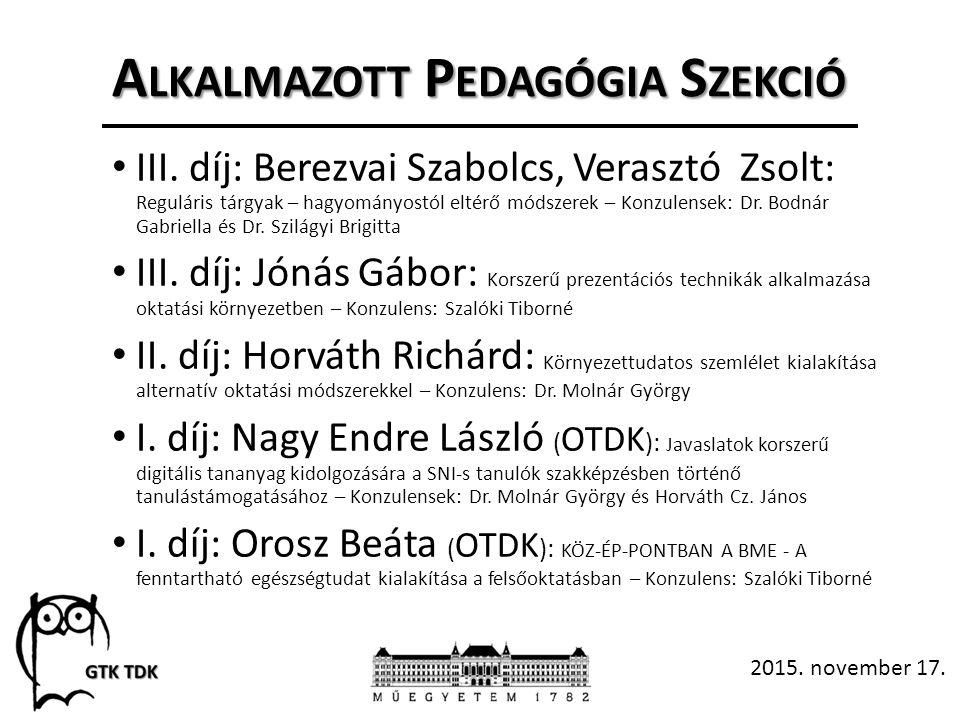 A LKALMAZOTT P EDAGÓGIA S ZEKCIÓ III.