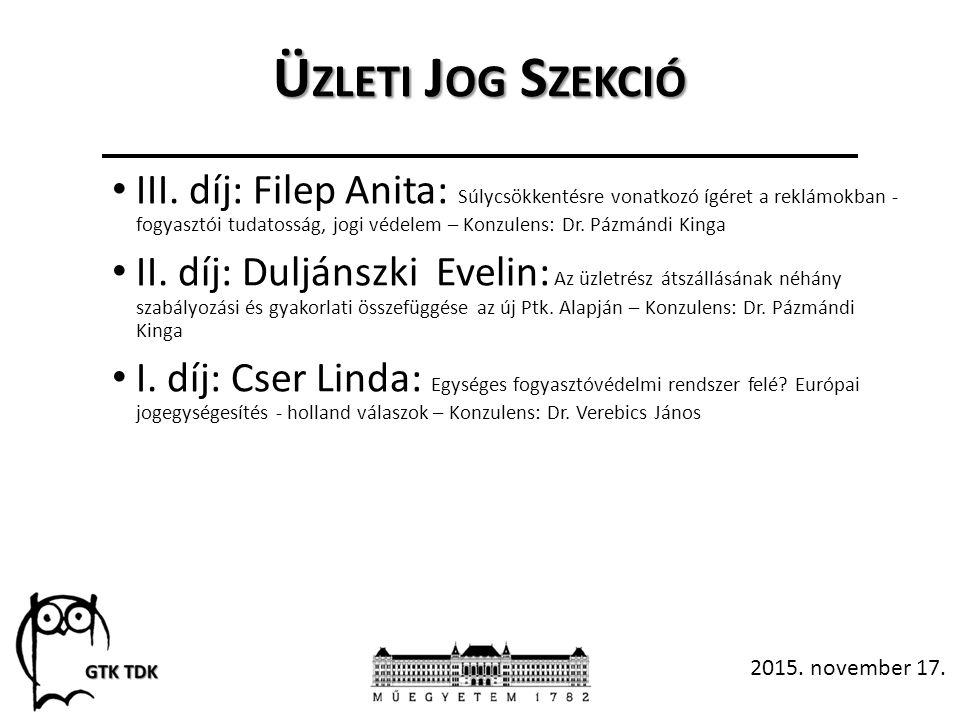 Ü ZLETI J OG S ZEKCIÓ III.