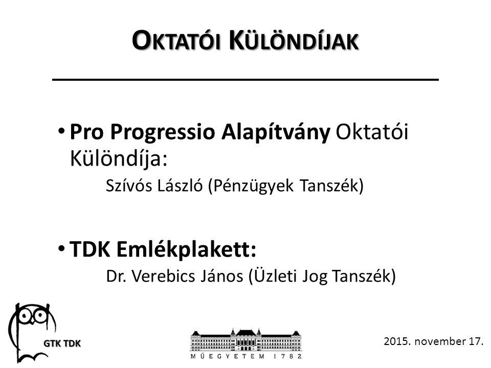 O KTATÓI K ÜLÖNDÍJAK Pro Progressio Alapítvány Oktatói Különdíja: Szívós László (Pénzügyek Tanszék) TDK Emlékplakett: Dr.