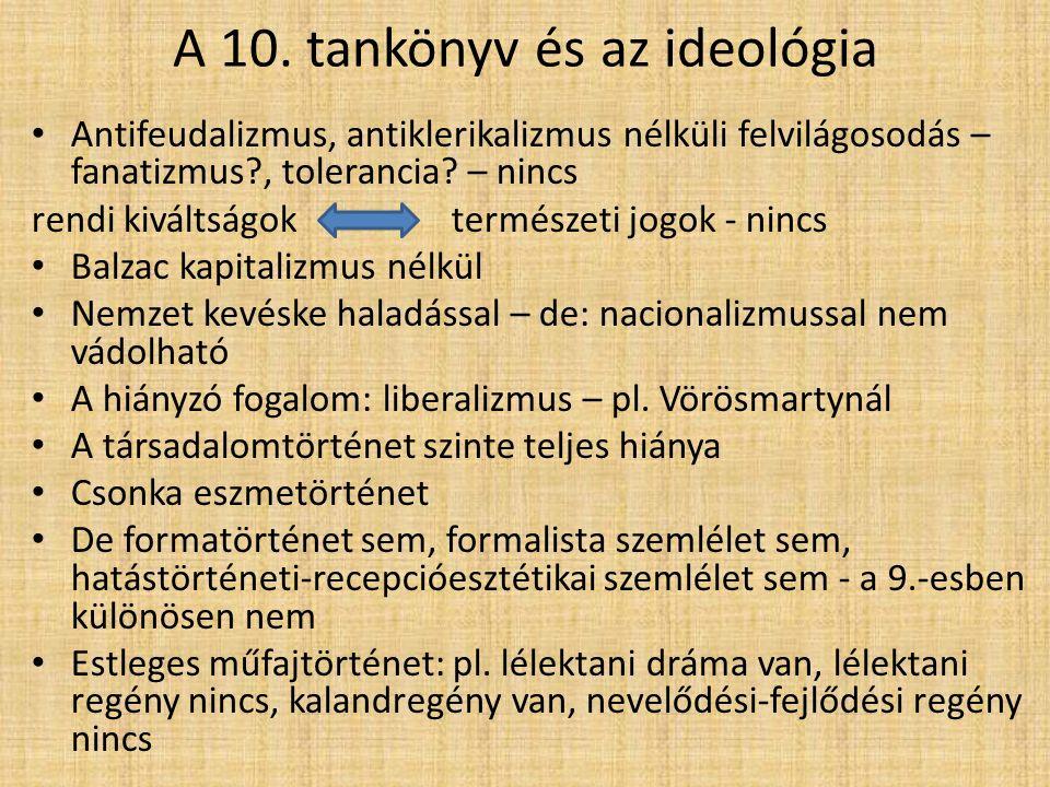 A 10. tankönyv és az ideológia Antifeudalizmus, antiklerikalizmus nélküli felvilágosodás – fanatizmus?, tolerancia? – nincs rendi kiváltságok természe