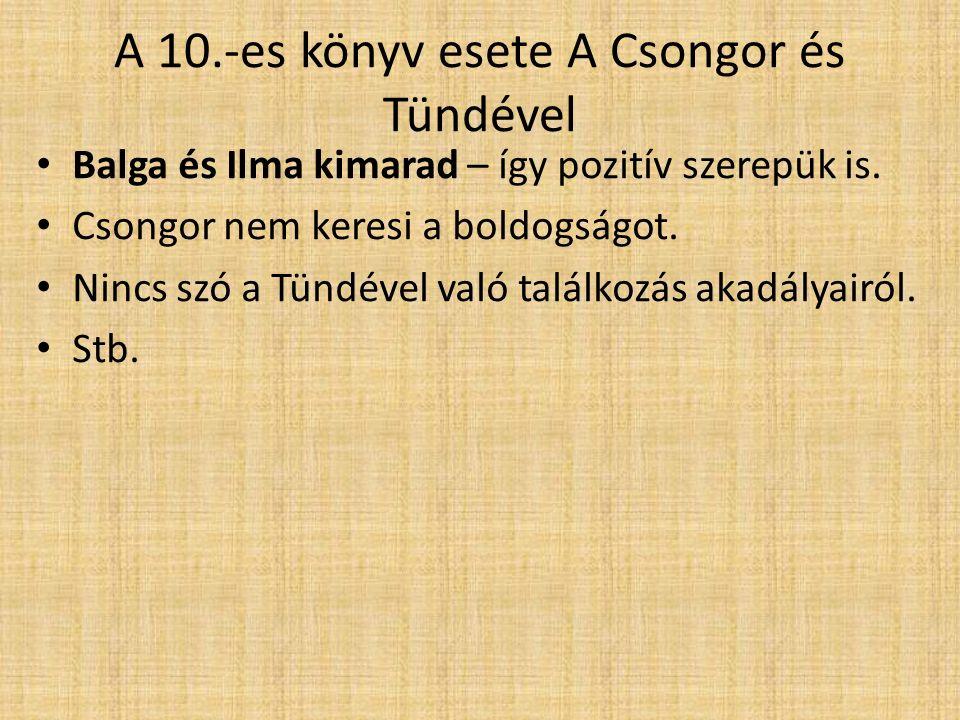 A 10.-es könyv esete A Csongor és Tündével Balga és Ilma kimarad – így pozitív szerepük is. Csongor nem keresi a boldogságot. Nincs szó a Tündével val