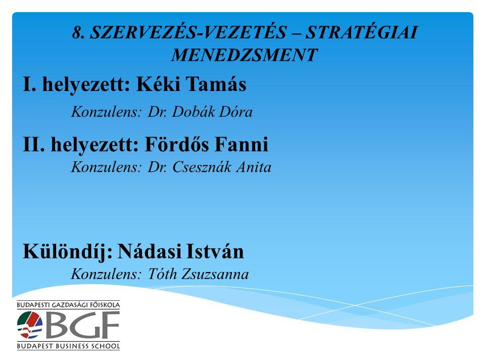 I. helyezett: Kéki Tamás Konzulens: Dr. Dobák Dóra 8.