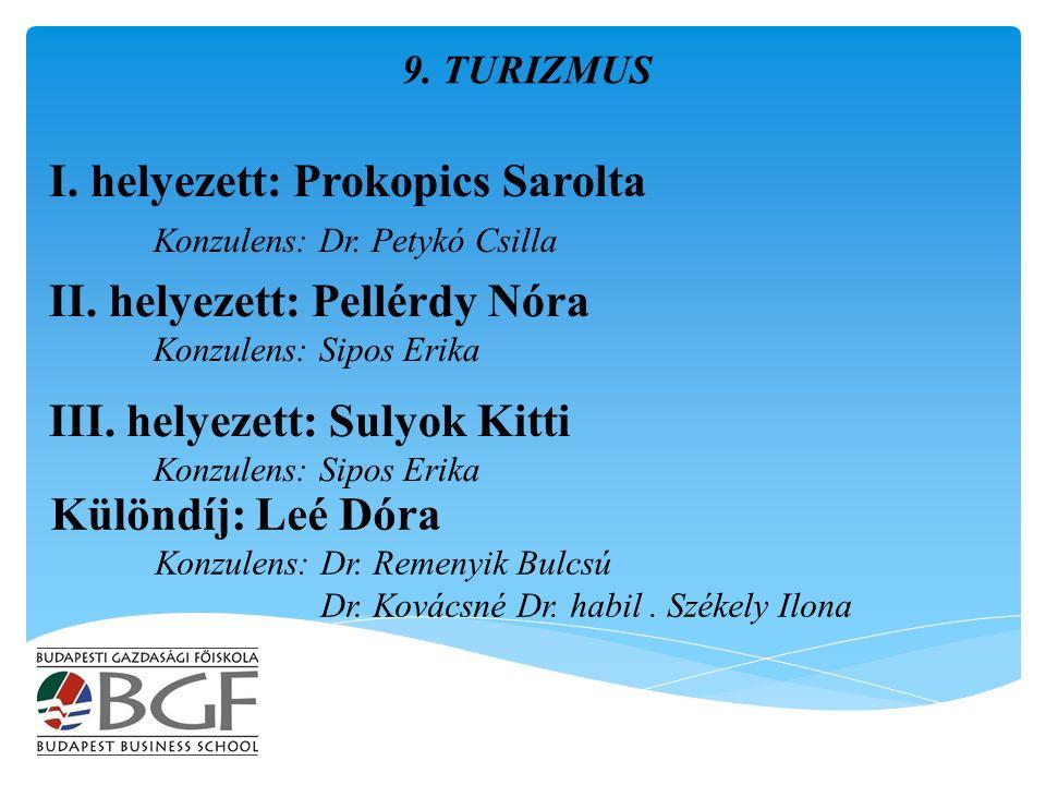I. helyezett: Prokopics Sarolta Konzulens: Dr. Petykó Csilla 9.