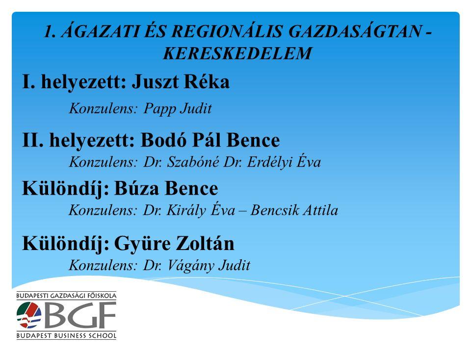 I. helyezett: Juszt Réka Konzulens: Papp Judit 1.
