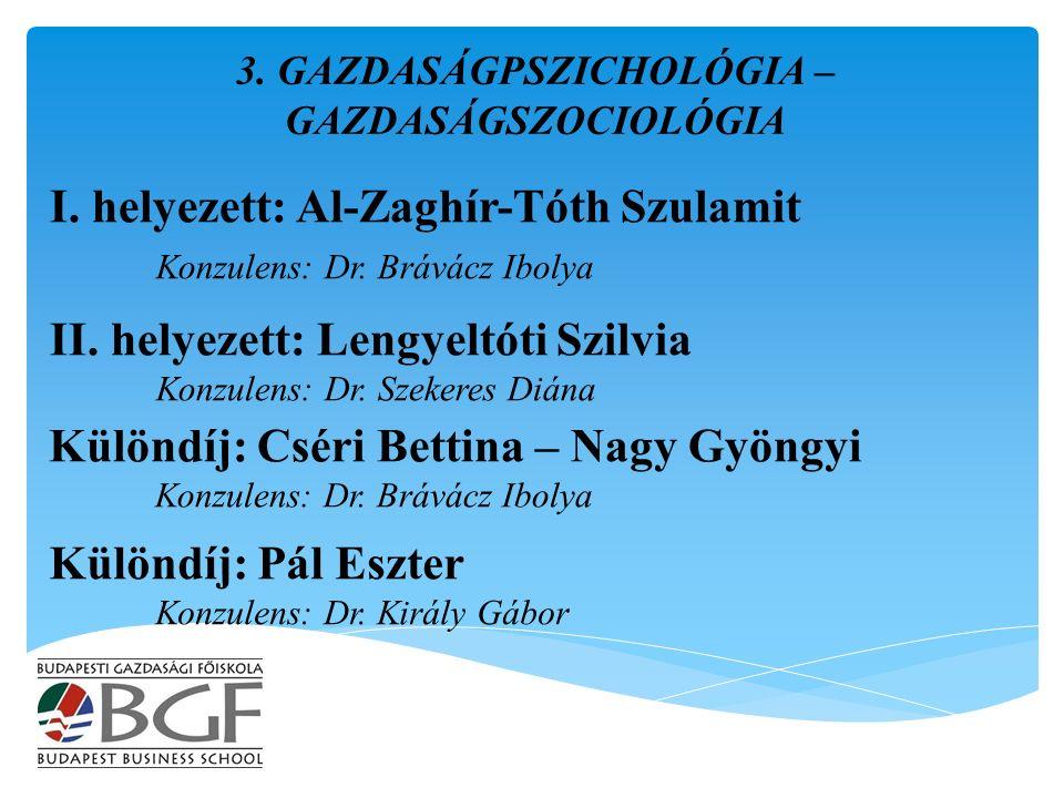 I. helyezett: Al-Zaghír-Tóth Szulamit Konzulens: Dr.
