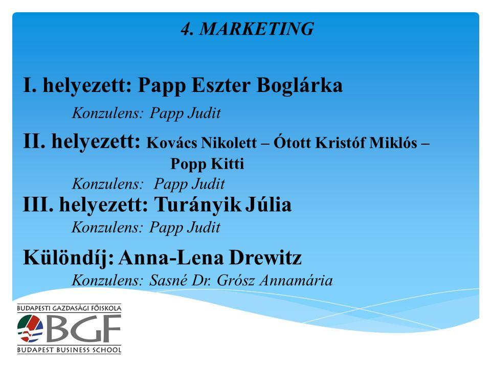 I. helyezett: Papp Eszter Boglárka Konzulens: Papp Judit 4.