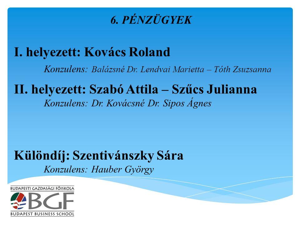 I. helyezett: Kovács Roland Konzulens: Balázsné Dr.
