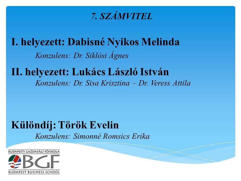 I. helyezett: Dabisné Nyikos Melinda Konzulens: Dr.