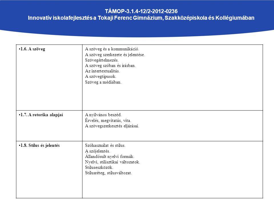 TÁMOP-3.1.4-12/2-2012-0236 Innovatív iskolafejlesztés a Tokaji Ferenc Gimnázium, Szakközépiskola és Kollégiumában 1.6.