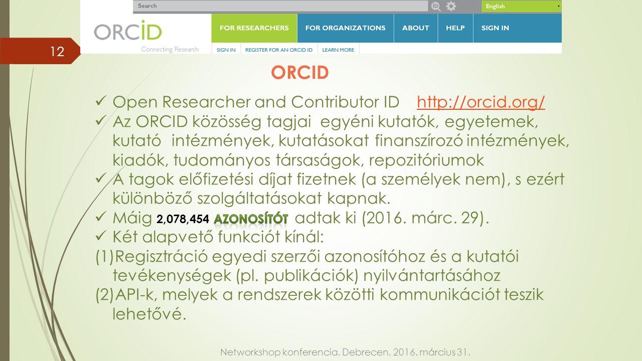 Networkshop konferencia, Debrecen, 2016. március 31. ORCID 12