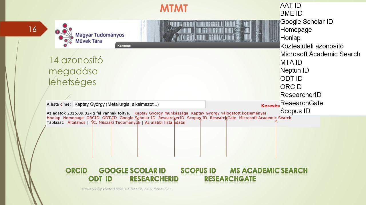 Networkshop konferencia, Debrecen, 2016. március 31. MTMT 14 azonosító megadása lehetséges 16