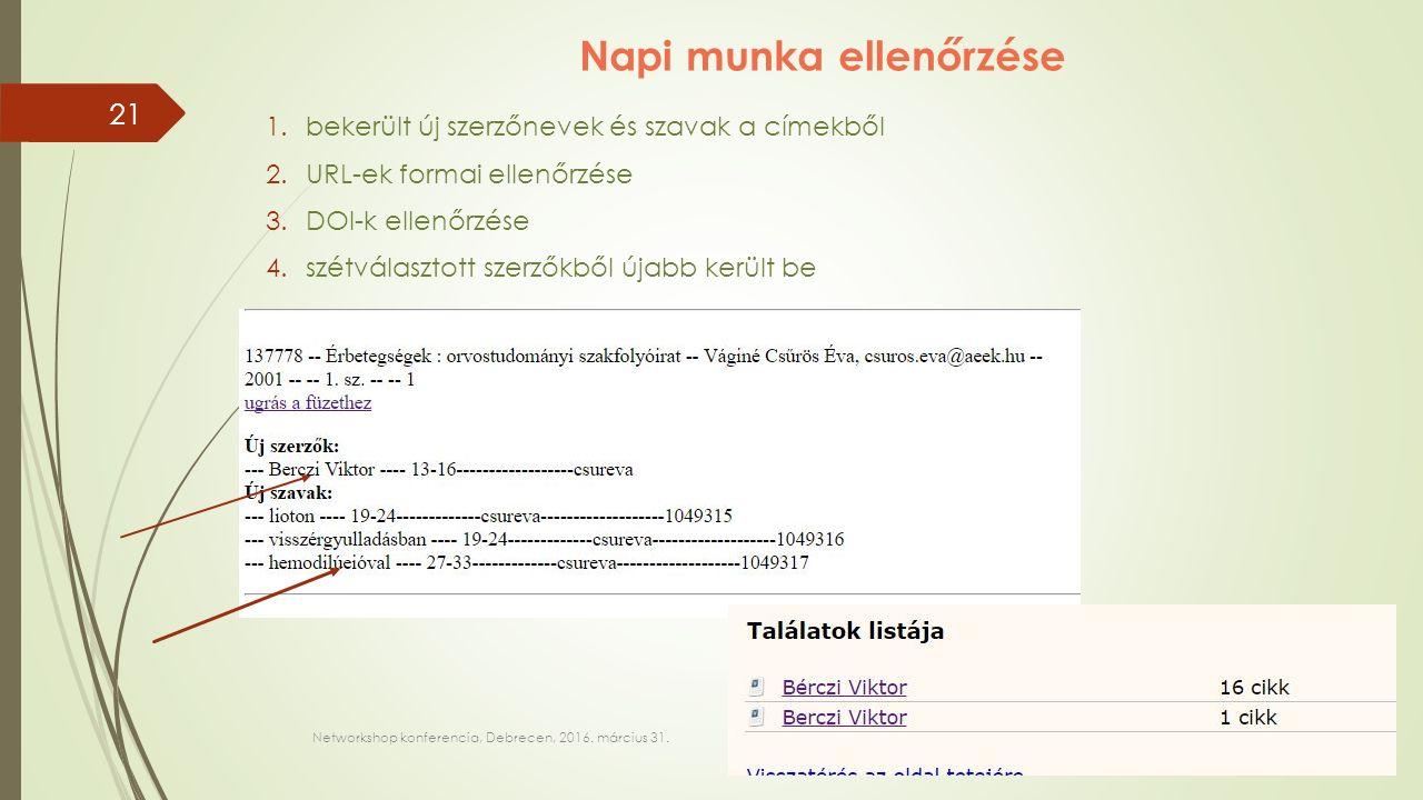 Napi munka ellenőrzése 1.bekerült új szerzőnevek és szavak a címekből 2.URL-ek formai ellenőrzése 3.DOI-k ellenőrzése 4.szétválasztott szerzőkből újabb került be Networkshop konferencia, Debrecen, 2016.
