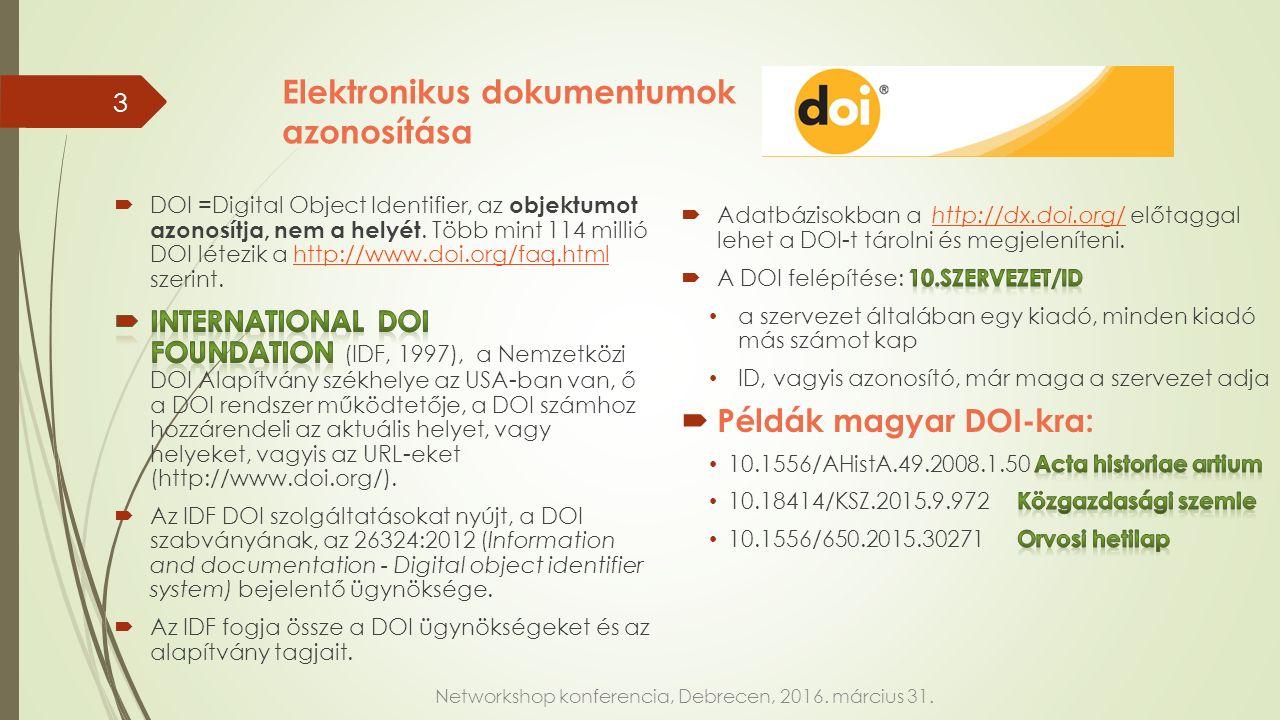 Elektronikus dokumentumok azonosítása Networkshop konferencia, Debrecen, 2016. március 31. 3