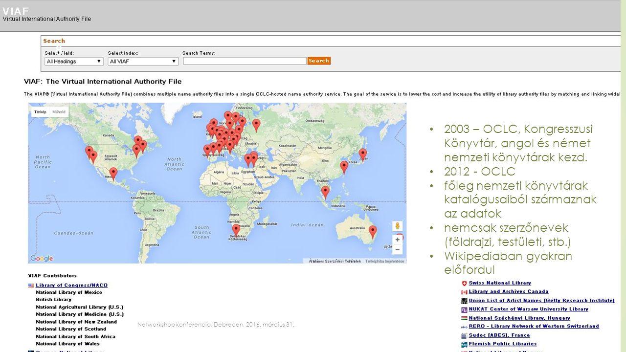 8 2003 – OCLC, Kongresszusi Könyvtár, angol és német nemzeti könyvtárak kezd.