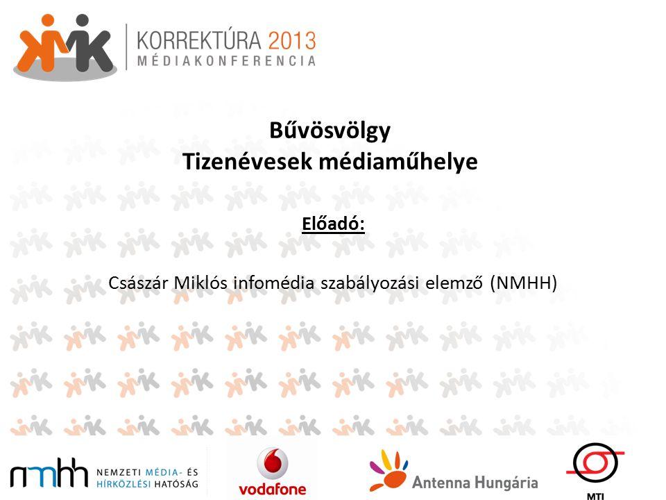 Bűvösvölgy Tizenévesek médiaműhelye Előadó: Császár Miklós infomédia szabályozási elemző (NMHH)
