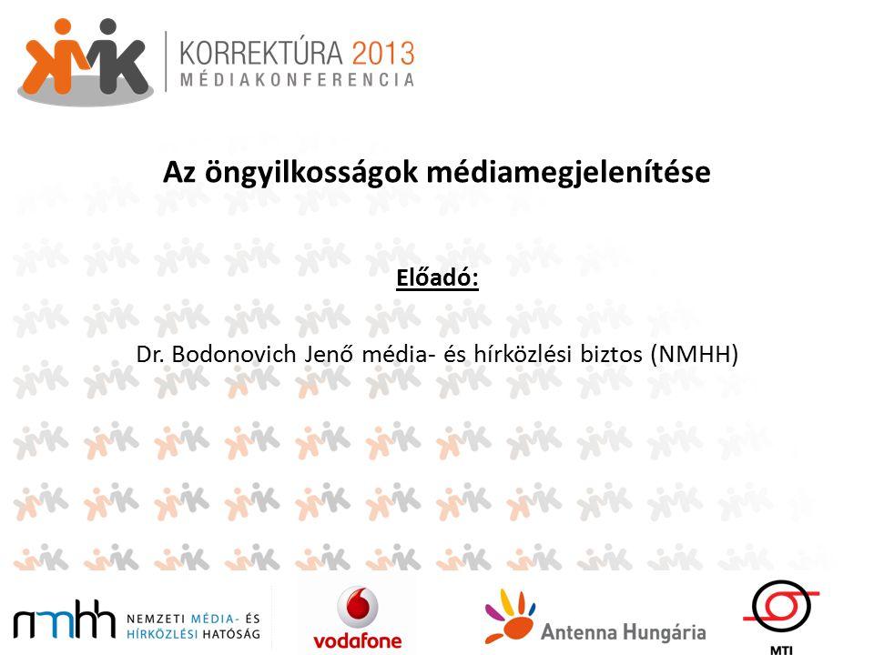 Az öngyilkosságok médiamegjelenítése Előadó: Dr. Bodonovich Jenő média- és hírközlési biztos (NMHH)